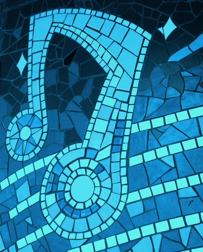 Musical Note Mosaic In Blue